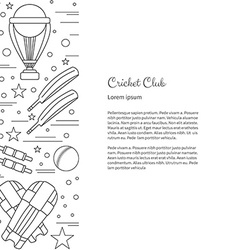 Poster with cricket symbols and objects vector