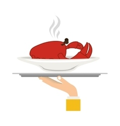 Silhouette colorful dish with hot crab in tray vector