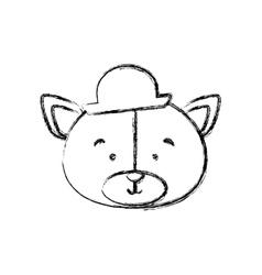 Monochrome contour blurr with face of groom bear vector