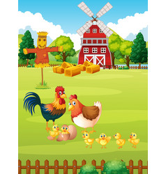 Many chickens on the farm vector