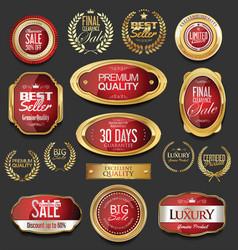 Golden badges and labels with laurel wreath vector