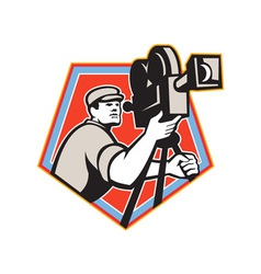 Cameraman vintage film reel camera retro vector