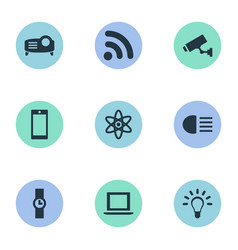 Set of simple technology icons elements bulb vector