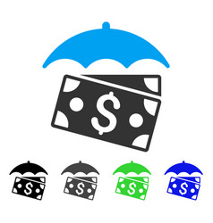 Banknotes umbrella flat icon vector