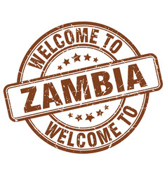 Welcome to zambia brown round vintage stamp vector