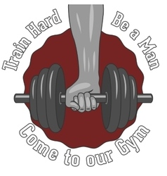 Weight dumbbell in a strong hand vector
