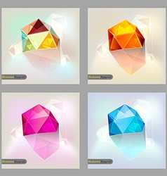 Set of polygonal geometric figures brochure vector