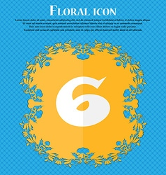 number six icon sign Floral flat design on a blue vector image