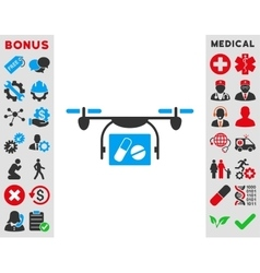 Medical quadcopter icon vector