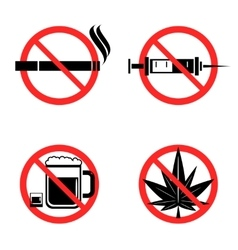 No drugs icons set vector