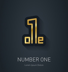 Number one sign corporate gold logo design vector