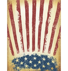 Grunge aged american flag background template vector