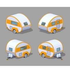 Low poly retro motor home vector
