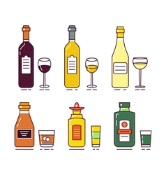 Alcohol set vector
