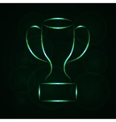 Cup silhouette of lights on dark background vector