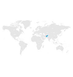 afghanistan marked by blue in grey world political vector image vector image