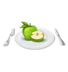 Apple on plate vector image