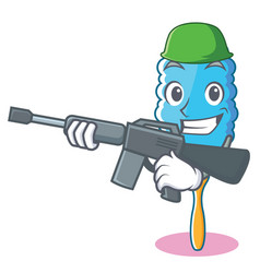 Army feather duster character cartoon vector