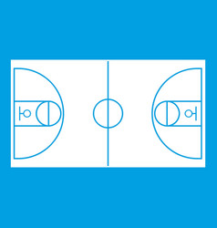 basketball field icon white vector image