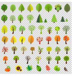 Big nature set with trees vector