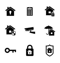 black home security icons set vector image vector image