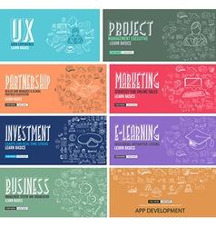 Business Development concept background wih Doodle vector image vector image
