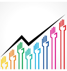 Business graph made by colorful hand icons vector