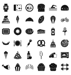 Calories icons set simple style vector