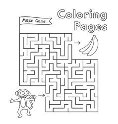 Cartoon monkey maze game vector