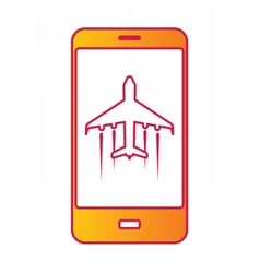 Cellular phone with flight mode sign on screen vector