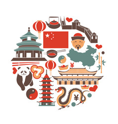 Chinese national things collection in circle on vector