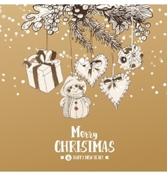 Christmas card with stylish sketches vector