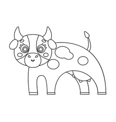 Cow single icon in outline stylecow vector