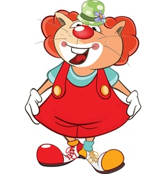 Cute cat clown cartoon character vector