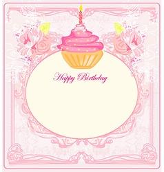 Cute retro cupcakes card - happy birthday card vector