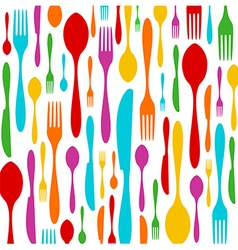 Cutlery colorful pattern on white vector image