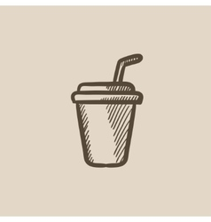 Disposable cup with drinking straw sketch icon vector image
