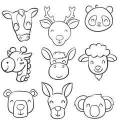 Doodle of animal head cartoon style vector