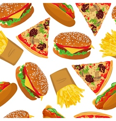 Fast food seamless on white background vector