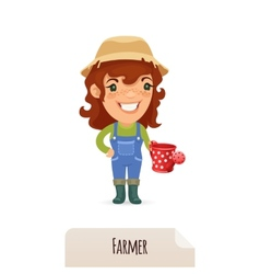 Female farmer with a watering can vector