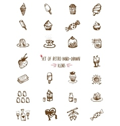 Food hand-drawn sketch line icons vector image