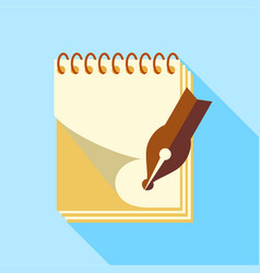 ink pen on notebook icon flat style vector image