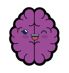 Kawaii brain icon vector