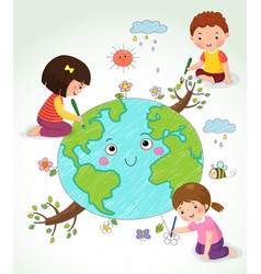 kids drawing the earth vector image vector image