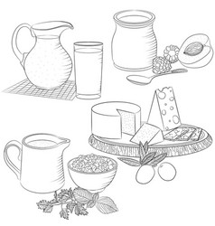 Line art various dairy products vector