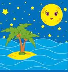 Palm trees and a cartoon moon in the night sky vector