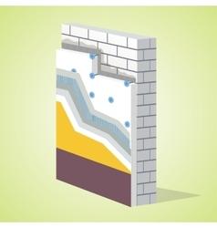 Polystyrene thermal insulation layered scheme vector