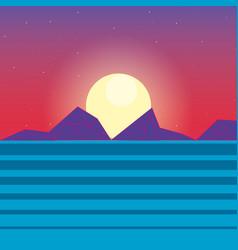 Retro background futuristic landscape design vector