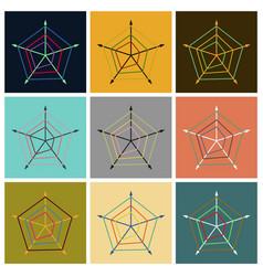 Set of flat icons on stylish background thin chart vector