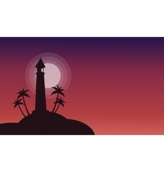 Silhouette of lighthouse on red backgrounds vector